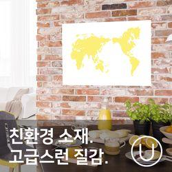 [유니크]세계지도 포스터 스티커 도트 옐로우