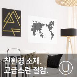 [유니크]세계지도 포스터 스티커 도트 블랙