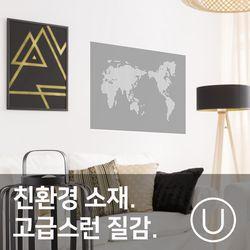 [유니크]세계지도 포스터 스티커 도트 화이트그레이