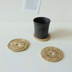 라탄 밤부 코스터 라탄 컵받침