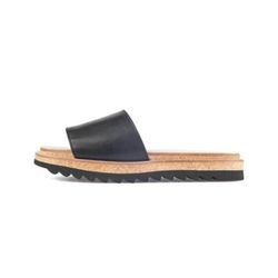 BLACK RIPPLE SOLE CORK SLIDES