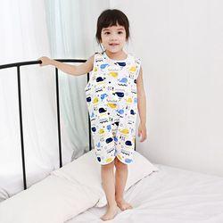 무형광 순면 아동 고래 수면조끼 여름원단 슬립색 잠옷