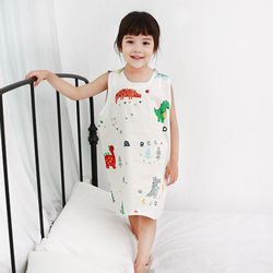 무형광 순면 아동 아기공룡 수면조끼 여름원단 슬립색 잠옷