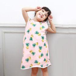 무형광 순면 아동 파인애플 수면조끼 여름원단 슬립색 잠옷