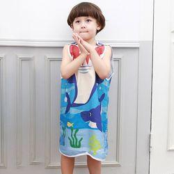 무형광 순면 아동 스카이상어 수면조끼 여름원단 슬립색 잠옷