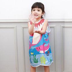 무형광 순면 아동 핑크상어 수면조끼 여름원단 슬립색 잠옷