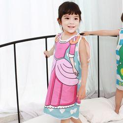 무형광 순면 아동 하트공주 수면조끼 여름원단 슬립색 잠옷