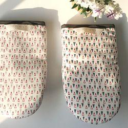 삼각 패턴 면 주방장갑(네이비)
