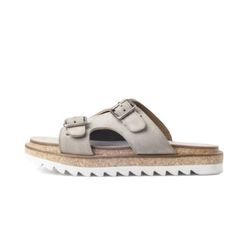 WHITE RIPPLE D-BUCKLE SANDALS