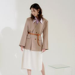 boxy none collar jacket (3colors)