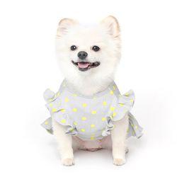 쭈글쭈글 도트 프릴 원피스 강아지옷 - 그레이