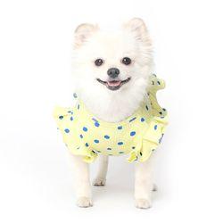 쭈글쭈글 도트 프릴 원피스 강아지옷 - 옐로우