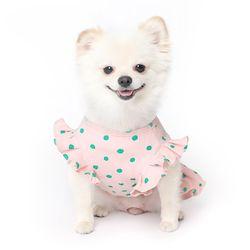 쭈글쭈글 도트 프릴 원피스 강아지옷 - 핑크