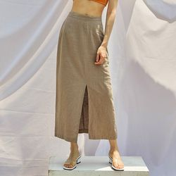 deep slit linen skirt (s m)