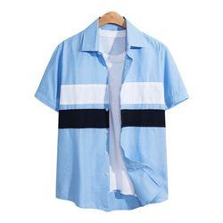 두줄 라인 반팔 셔츠 SHT096