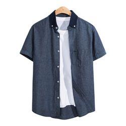 청 배색 포켓 반팔 셔츠 SHT085