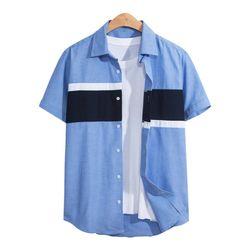 쓰리 배색 반팔 셔츠 SHT084