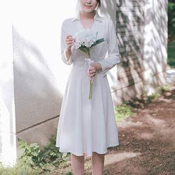 화이트 카라 원피스 스몰웨딩 드레스 브라이덜샤워 드레스