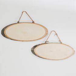 나무 타원형 팻말(소)
