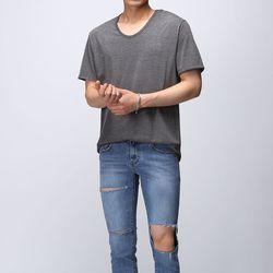 [매트블랙] 루즈핏 U넥 반팔 티셔츠