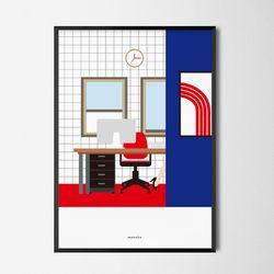 유니크 디자인 포스터 M 붉은카펫 오피스 A3(중형)