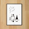 유니크 디자인 포스터 M 술과 고양이 A3(중형)