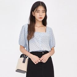 lovely dot square blouse
