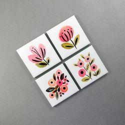 북유럽 스타일 메모 홀더 꽃그림 냉장고 자석