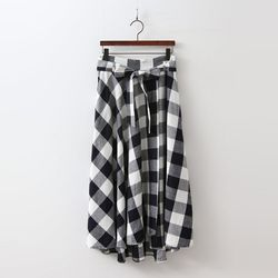 Linen Gingham Full Skirt