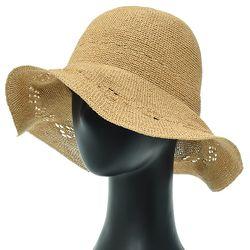 [더그레이]NKP26.밀짚 펀칭챙 여성 여름 비치 모자