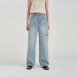 mid slit long denim pants