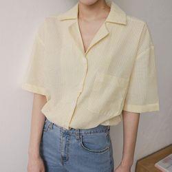 링클 스트라이프 카라 셔츠 (4-COLORS)