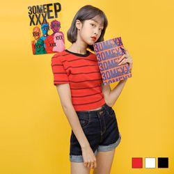 2214 고고 스트라이프 크롭 티셔츠 (3colors)
