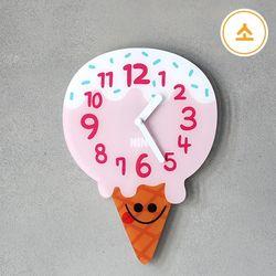 니노타임 무소음 아크릴 벽시계 (아이스크림 소)