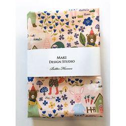 [Maki Design Studio]패턴손수건-7.동물마을(핑크)
