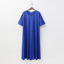 Easy A-Line Long Dress - 반팔