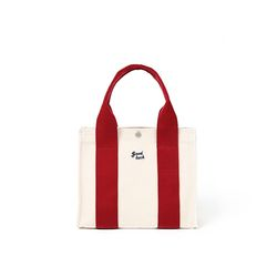 쿠커리 Small House Tote (ecru burgundy)