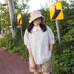 레이스 카라 단가라 퍼프소매 티셔츠n707