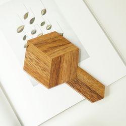 원목 3D 손잡이 우드 코스터 (호피우드 티크)