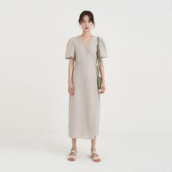 linen stripe lap one-piece (2colors)