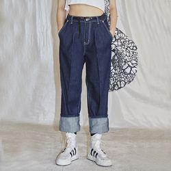 tuck stitch denim pants - UNISEX