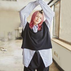 overfit stripe cuffs shirts - UNISEX