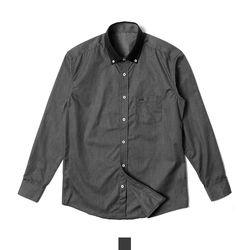 카라 배색 블랙 슬림핏 남자셔츠