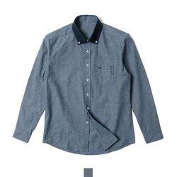 카라 배색 네이비 슬림핏 남자셔츠