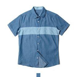 블루 남자반팔셔츠