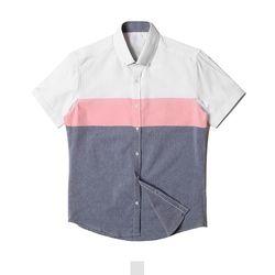 핑크 남자반팔셔츠
