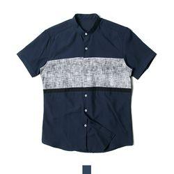 네이비 차이나카라 남자반팔셔츠
