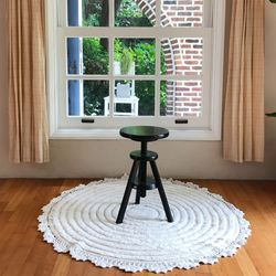 프로방스 거실 침실 원형 면 러그150x150cm