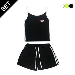 [SET]SPORTY SLEEVELESS TOP+SHORTS(3color)