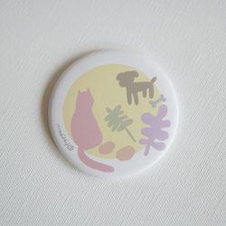 고양이와 사물들 원형 손거울 (옐로우)